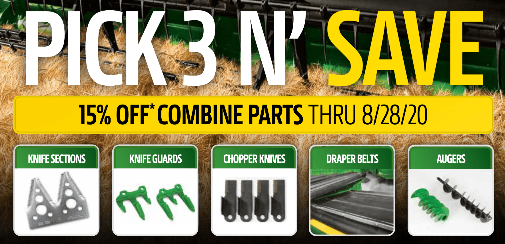 Pick 3 N' Save 15% on Combine Parts
